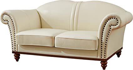 ESF Furniture 2601 Versachi II White Italian Leather Loveseat Made In Italy