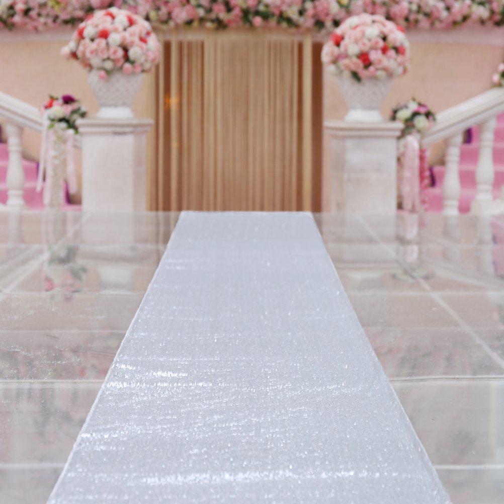TRLYC Sparkle Carpet Runner Sequin Aisles Runner for Wedding-Silver 4ftx16ft