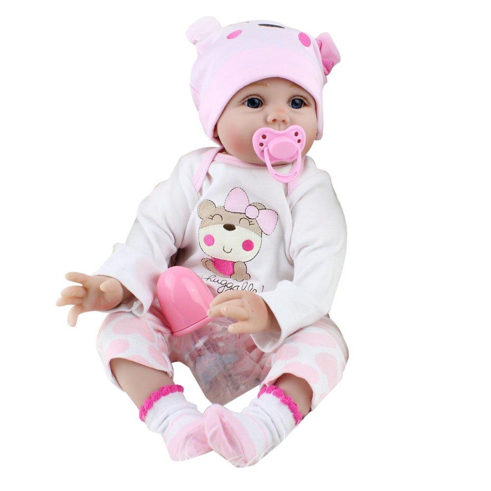55cm Newborn Kids Girl Playmate Lifelike Doll, Birthday Gift for Little Baby (Pink)