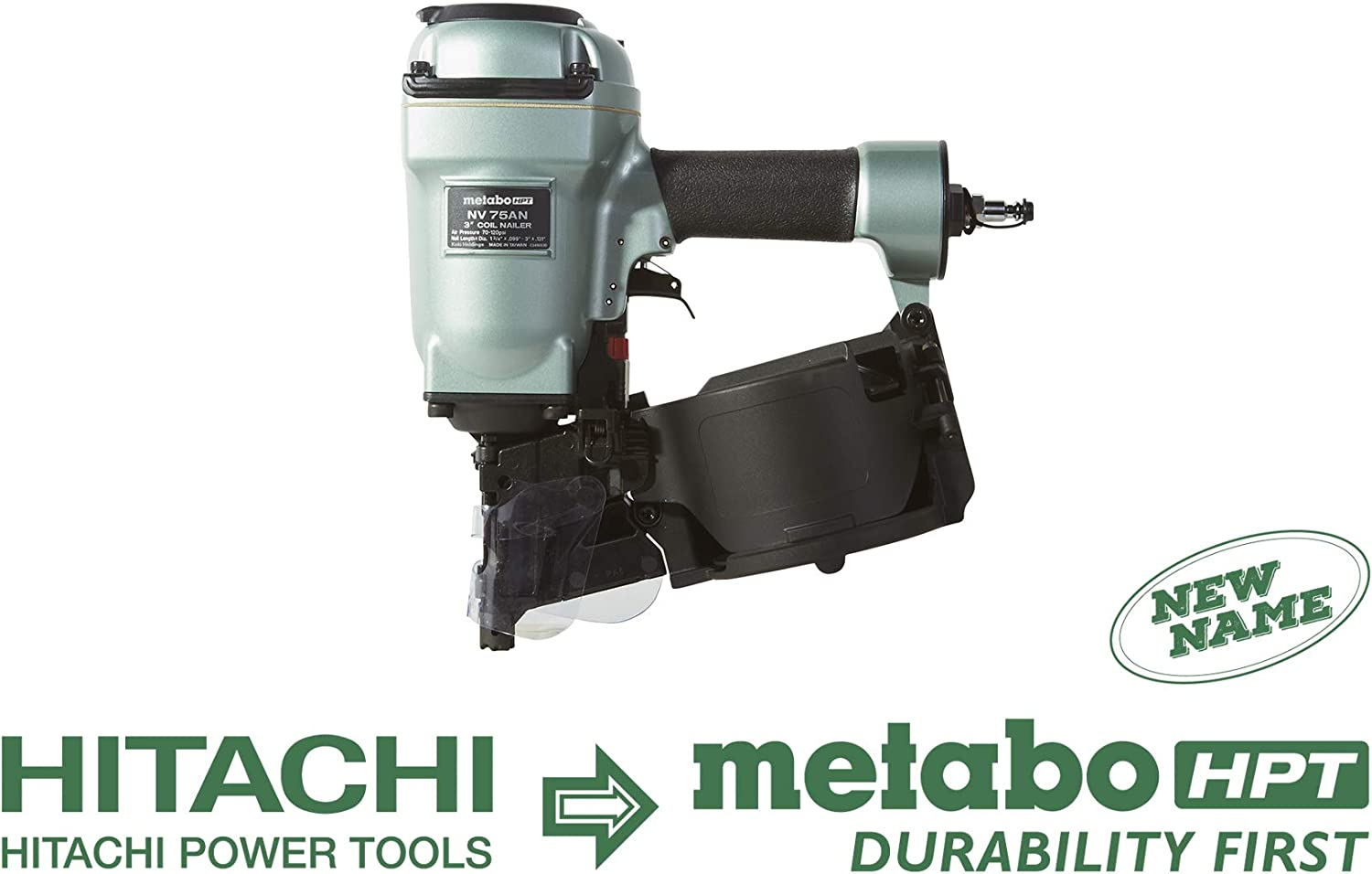 Metabo HPT NV75AN Pneumatic Coil Siding Framing Nailer, 1-3 4-Inch up to 3-Inch Plastic Wire Collated Nails, Contact Bump Trigger Installed, 360 Degree Adjustable Air Deflector
