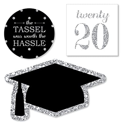 Big Dot of Happiness Silver Tassel Worth The Hassle - DIY Shaped 2020 Graduation Party Cut-Outs - 24 Count: Toys & Games
