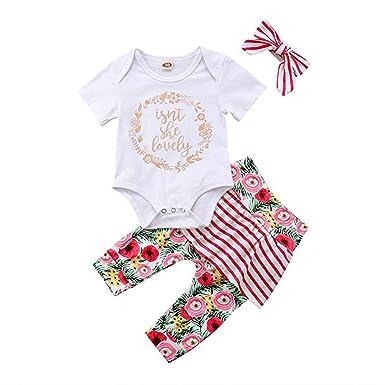 57d9109e20d7 MLCHNCO Baby Girl Clothes Newborn Floral Stripe Tutu Pants+Print Short  Sleeve Top+Headband