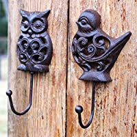 OwMell Set of 2 Owl and Bird Cast Iron Wall Hanger Hooks Rack, Vintage Rustic Decorative Wall Mounted Coat Hook Metal Clothes Hanger