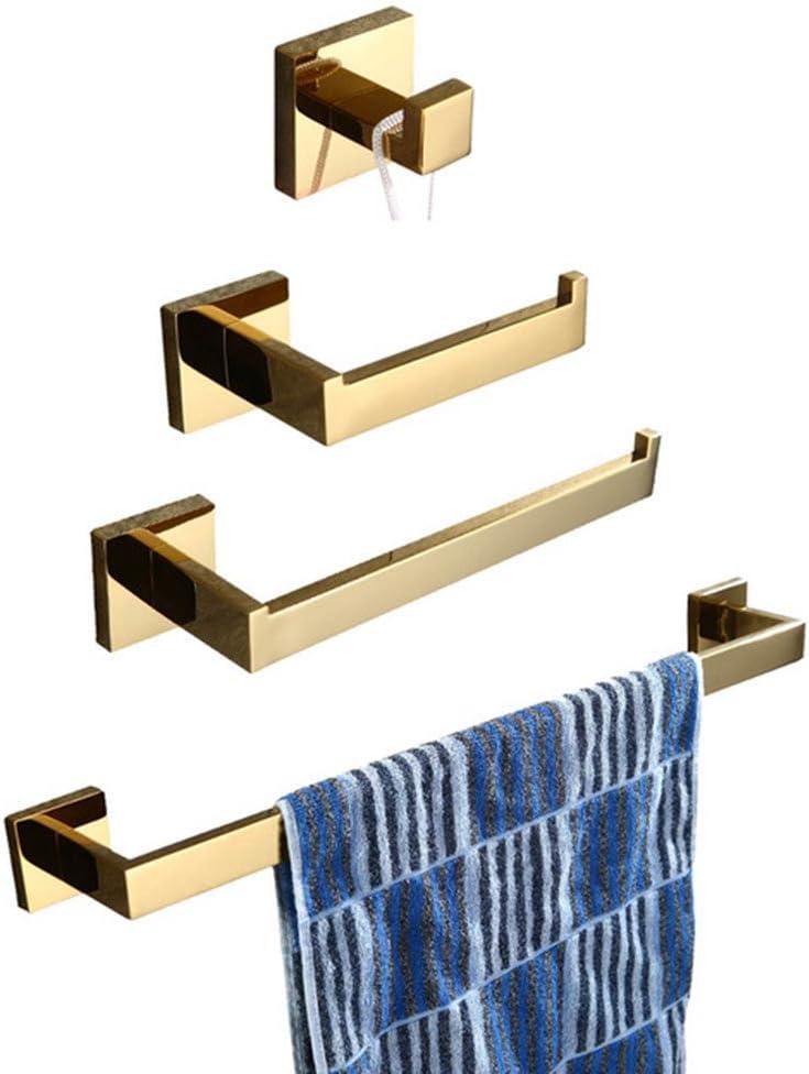 CASEWIND - Toallero de Barra de toallero con Barra de Acero Inoxidable, Estilo de Lujo para baño de 60 cm de Largo, Acero Inoxidable, Dorado, Bathroom 4 Sets