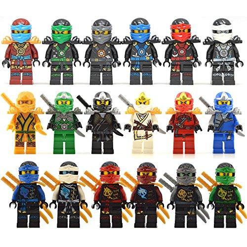 Lot Of 18 Minifigures Set Jay Cole Lloyd Kai Nya Zane fits Lego