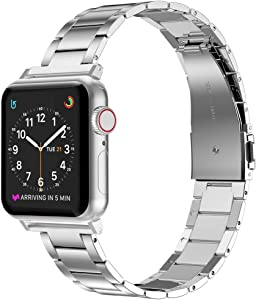 Wearlizer Stainless Steel Compatible with Apple Watch Band 38mm 42mm Women Men,Ultra-Thin Lightweight Replacement Band Strap Compatible for iWatch Bands Series 6 5 4 3 2 1 (Silver, 42mm 44mm)