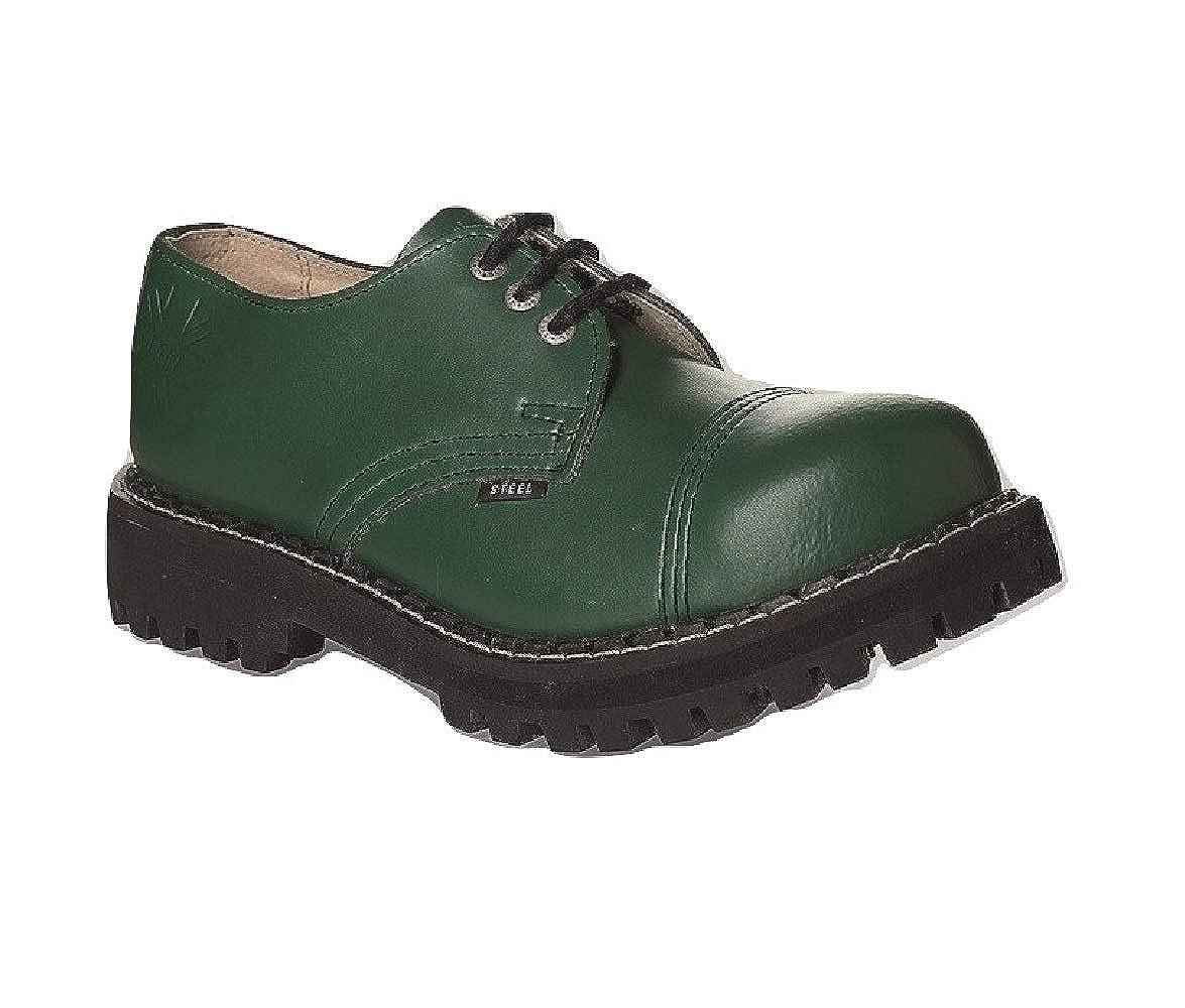 Steel Militärische Schuhe Unisex Herren Damen Leder Grün 3 Ösen Ösen Ösen Army Punk Stahlkappe 1d7921