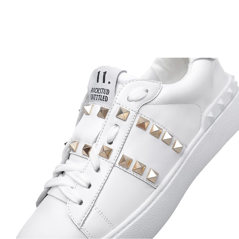 Shenn Mujer Moda Zapatillas Atada Remaches Blanco Cuero Entrenadores Zapatos EU35.5 Ir4tLkTIz