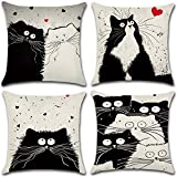 JIELEE 4 Pack Cartoon Cat (Twin Side Print) Throw Pillow Covers Cases for Couch Sofa Bed Home Decor, Square Cotton Linen Cushion Cover 18 X 18 Inches