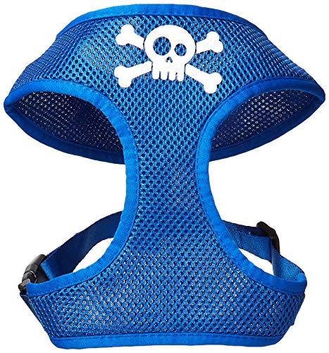 Mirage Pet Products Skull Crossbones Screen Print Soft Mesh Dog Harnesses, Large, Blue