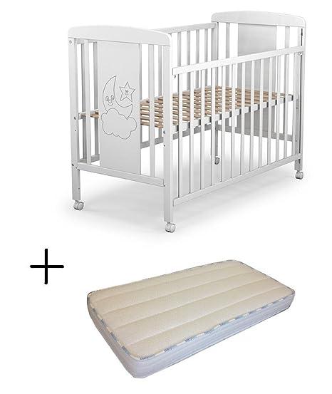 Cuna para bebé, modelo cielo + Colchón Viscoelástica + Protector impermeable de colchón para bebés