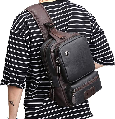 AOLIDA Men Sling Bag PU Leather Unbalance Chest Shoulder Bags Casual Crossbody Bag Travel Hiking Daypacks