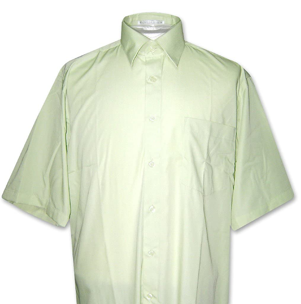 Covona Mens Short Sleeve Solid Mint Green Color Dress Shirt Size