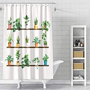 DESIHOM Cactus Shower Curtain Green 62x72 Inch Plant Shower Curtain Floral Succulent Shower Curtain Garden Shower Curtain Botanical Shower Curtain Leaf Tropical Polyester Waterproof Shower Curtain