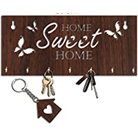 Studio Shubham Home Sweet Home Wooden Brown Key Holder with a Key Chain (25cm X 11cm X 3cm, Brown)