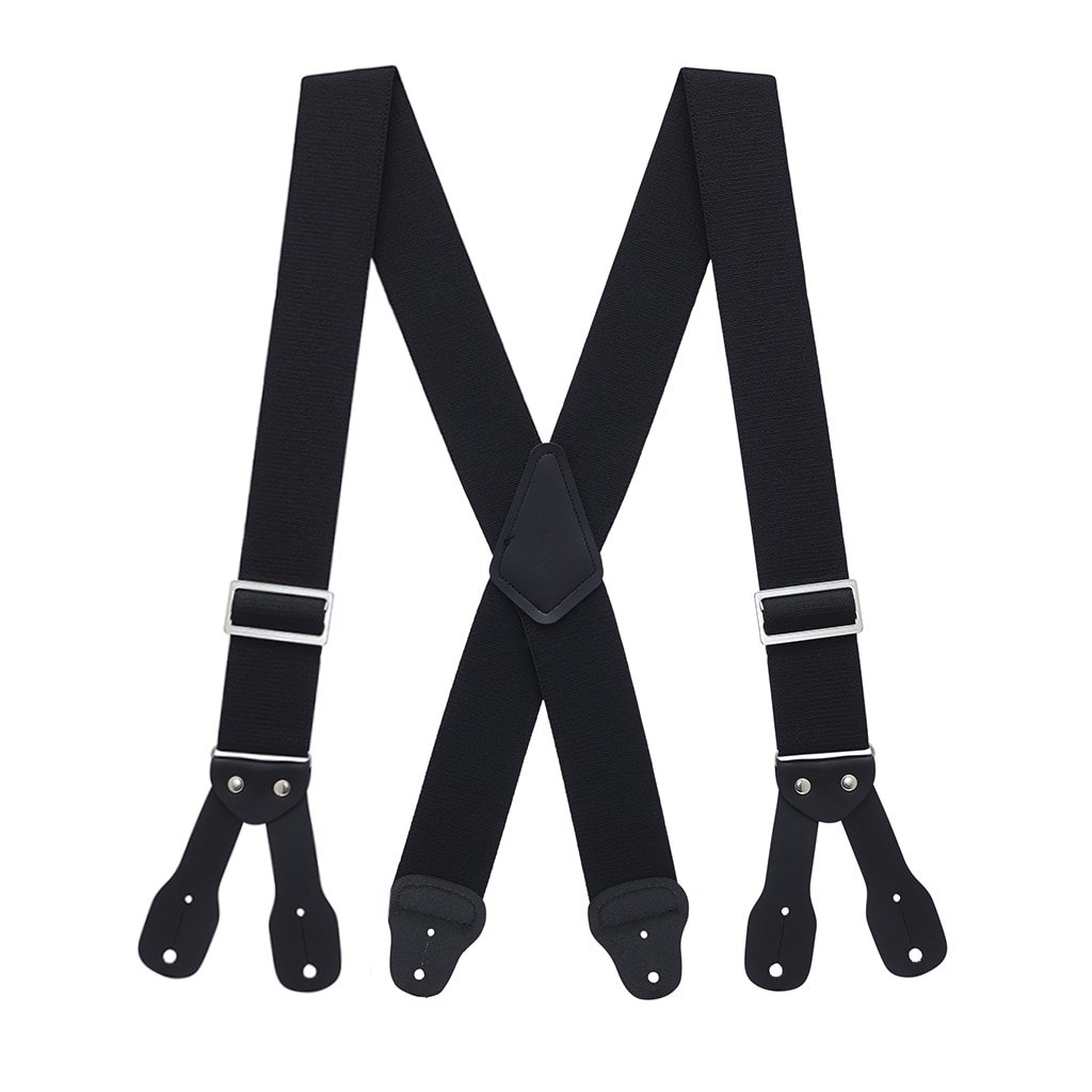 SuspenderStore Men's Logger Button Suspenders - 2 Inch Wide BLACK