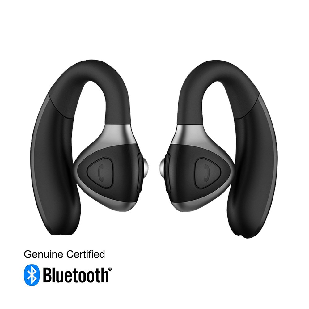 TANGON Bluetooth Headset, Wireless Sport Earphone,Sweatproof Running Earbud,Smart Voice Prompt,HD Stereo Sound,Hands-Free Bluetooth Headphone Car Earpiece with Mic for iPhone Android (Black)