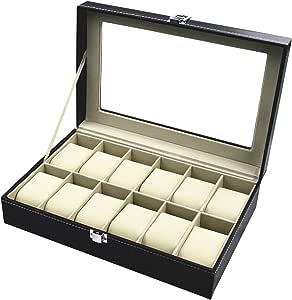 TECHVIDA Relojes Caja de Reloj con 12 Compartimentos para Joyería Caja Organizador Oficina Escritorio Armario Negro Caja de Reloj de Piel PU con Terciopelo Suave Regalo para Hombre y Mujer 12 Ranuras(Negro)