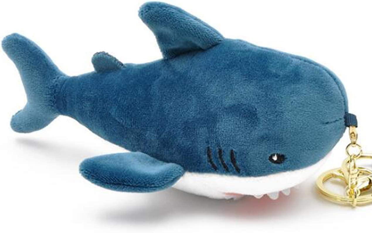 Smilesky Plush Shark Keychain Stuffed Animals Toys Backpack Ornaments Pendant Key Ring Blue