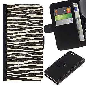 Billetera de Cuero Caso del tirón Titular de la tarjeta Carcasa Funda del zurriago para Apple Iphone 6 4.7 / Business Style White Black Zebra Stripes Nature Animal