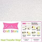 "Three (3) 10""x12"" Sheets of Siser Glitter Iron-on Heat Transfer Vinyl Sheets (White)"