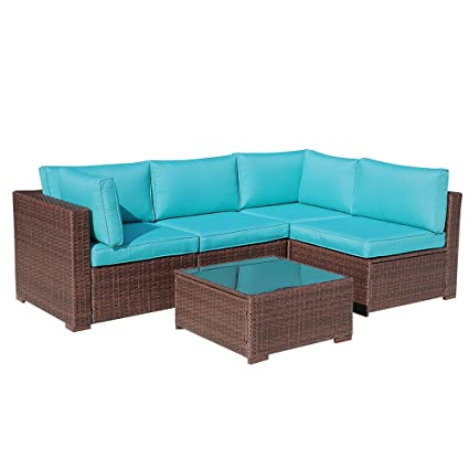Amazon Com Oc Orange Casual 5pcs Outdoor Rattan Sofa Set Couch