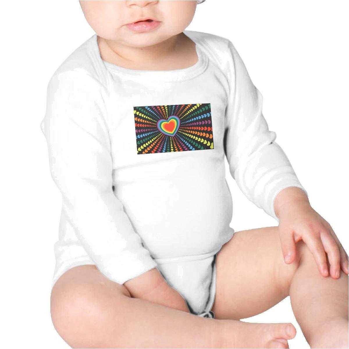 Pikaqiuleilei Rainbow Heart Flag Kids Cotton,Long Sleeve Creeping Suit