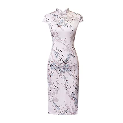 0bdf149a8a7 Amazon.com  YI Ya Women Cheongsam Chinese Dress Short Sleeve Flowers Pattern  Stand Collar Short Sleeves High Slit Pink Slim Skirt Wedding Gown