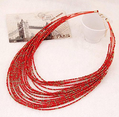 Tonsee Bohemia Handmade Beads Long Necklace (Red)
