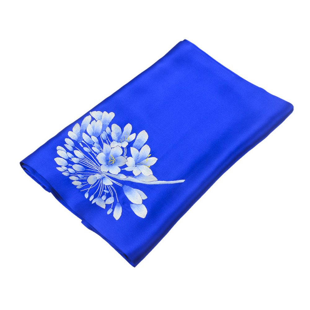 Spring and autumn ladies fashion silk scarf Double silk hand embroidered scarf-D