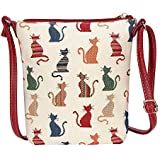 Cheeky Cat White and Red Ladies Tapestry Lightweight Top Zip Cross body Bag Sling Bag with Adjustable Strap by Signare (SLING -CHEKY)