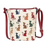 Cheeky Cat Ladies Tapestry Lightweight Top Zip Cross body Bag Sling Bag with Adjustable Strap by Signare (SLING -CHEKY)