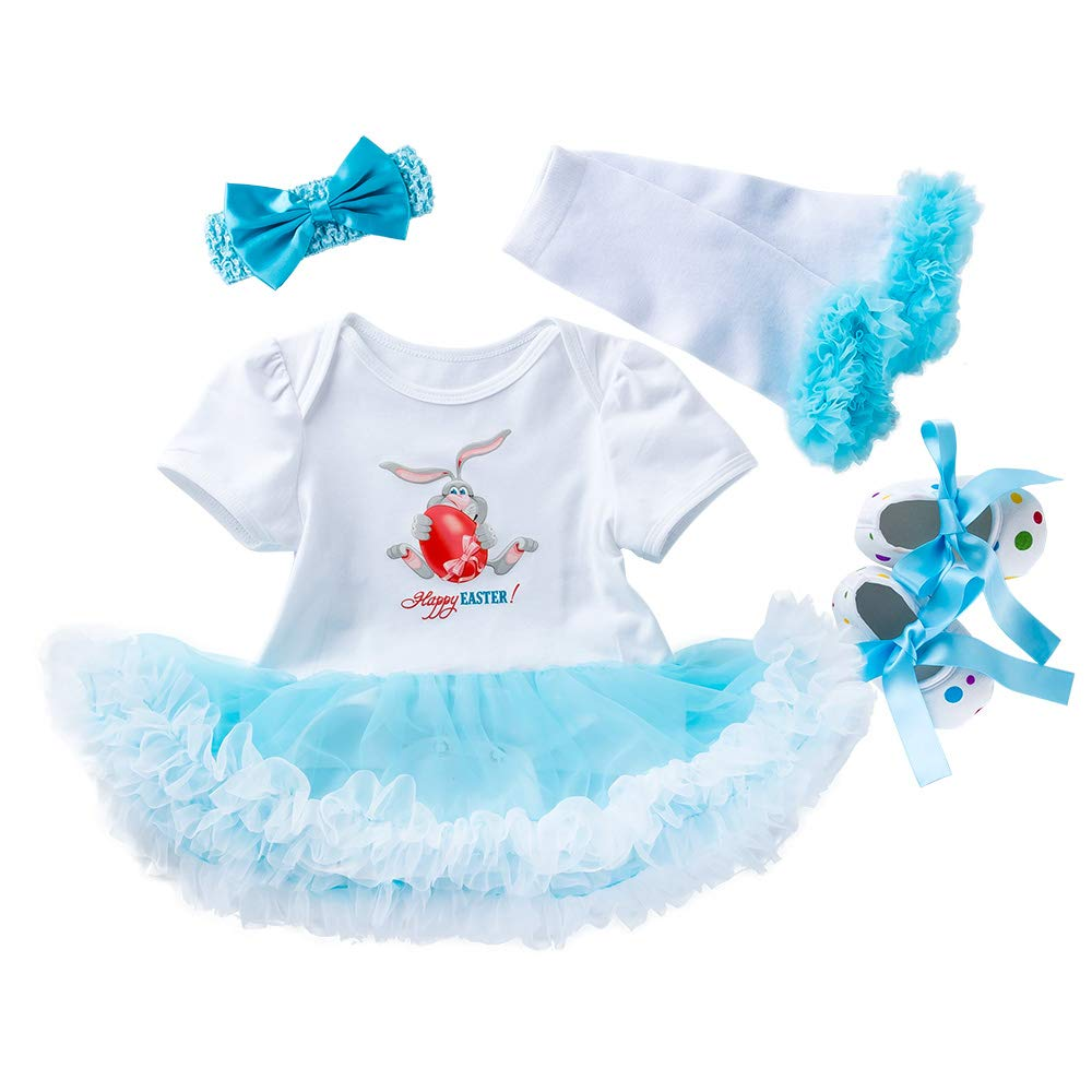WINZIK Baby Girls My 1st Easter Outfit Newborn Infant Bunny Eggs Bodysuit Romper Dress Tutu Skirt Party Costume Clothes