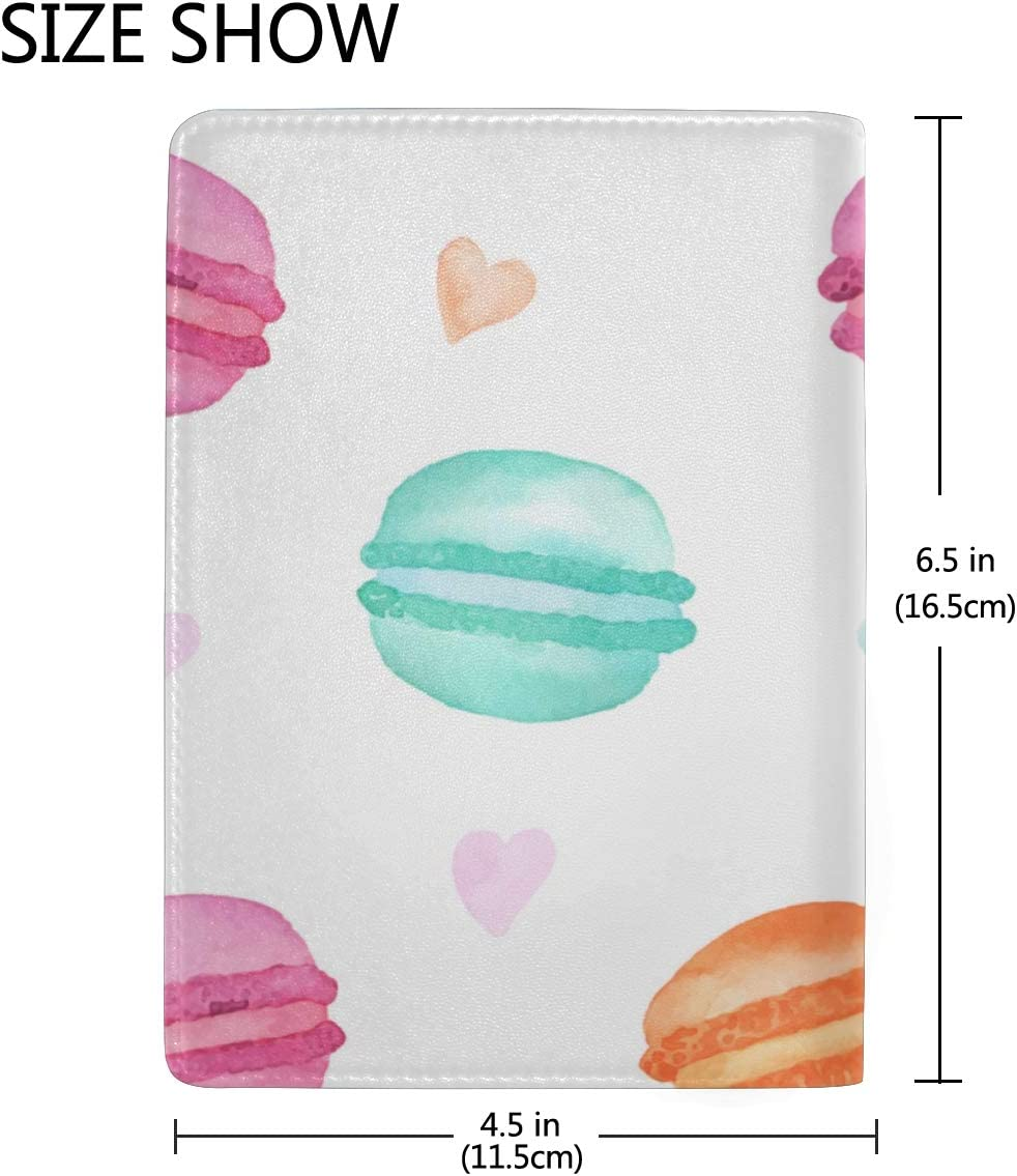 French Sweets Handdrawn Macaroon Blocking Print Passport Holder Cover Case Travel Luggage Passport Wallet Card Holder Made With Leather For Men Women Kids Family