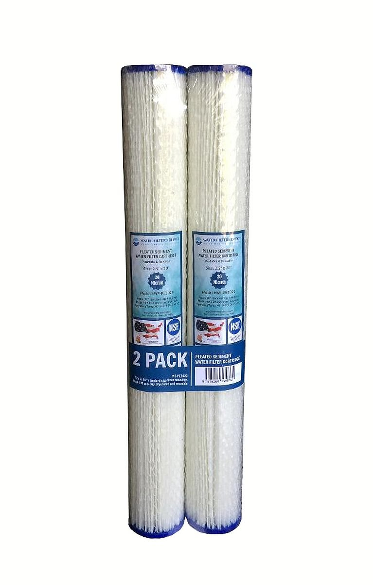 Water Filters Depot (WFD) WF-PE2020 2.5''x20'' 20 Micron Pleated Sediment Water Filter Cartridge by, Fits in 20'' Standard Size Housings of Filter Systems (2 Pack, 20 Micron)