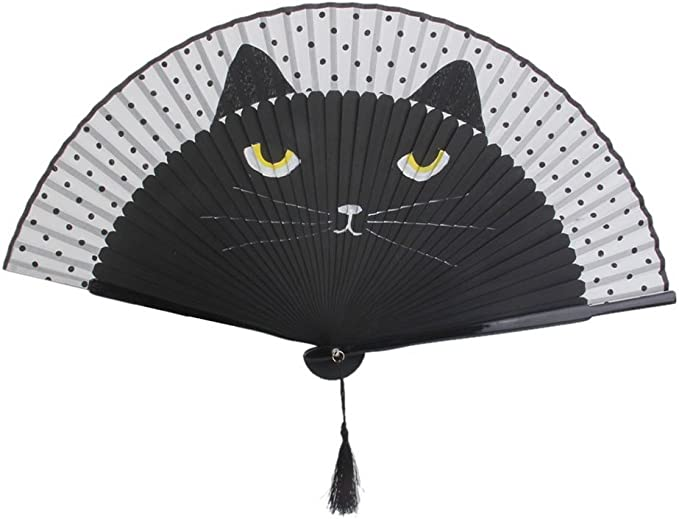 Lovely Cat Pattern for Cooling Yourself SeeSky 2 Pieces Cat Folding Fans Handheld Fans with Bamboo Frame and Silk Fan face Party Gifts Black and Brown Wedding Gifts