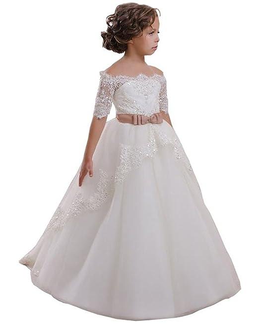 VIPbridal Vestido de niña de la flor blanca con apliques de encaje vestido de primera comunión