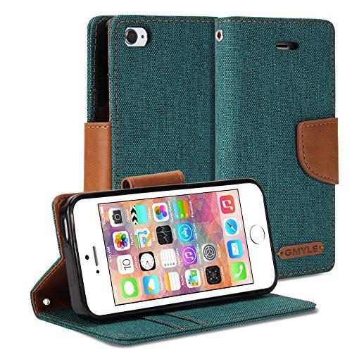 iPhone 5 / iPhone 5C Hülle, GMYLE Wallet Case Classic für iPhone 5 / iPhone 5C - Dark Green & Brown PU Leder Stand Hülle Tasche Etui