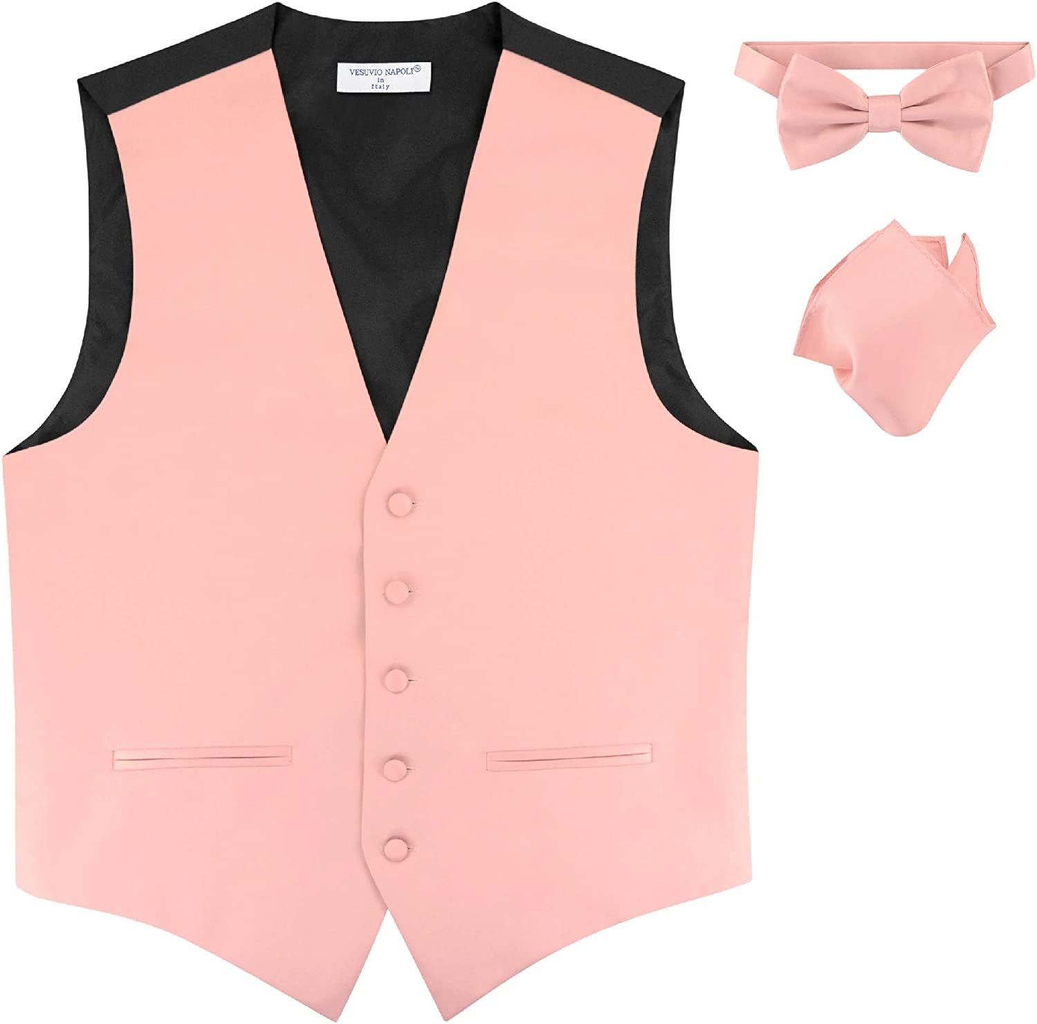 Mens Slim FIT Dress Vest Bowtie Solid Dusty Pink Color Bow Tie Handkerchief Set