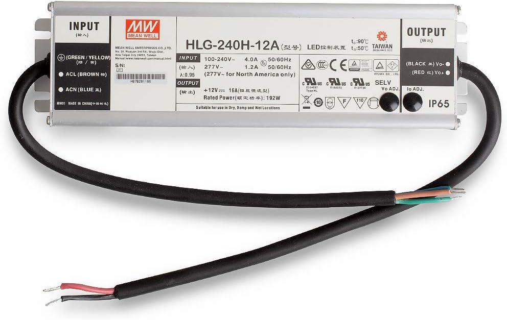LED Netzteil Trafo Mean Well HLG-240H-12A SNT 12V//DC//0-16A// 192 IP65 LED Transformator f/ür LED Beleuchtung