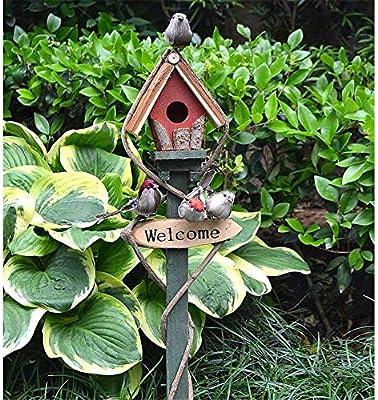 Decoración en hierro fundido Casa de pájaros Decoración for el jardín Letrero de bienvenida Pájaro colgante Jardín pequeño Decoración for patios al aire libre Patio Villa Decoracion jardin: Amazon.es: Hogar
