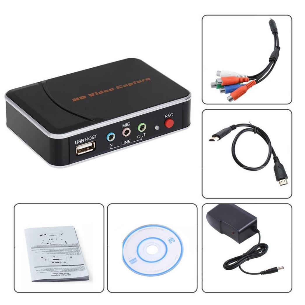HD Game Capture Card HD Video Capture 1080P HDMI/YPBPR Video Recorder for Xbox 360 Xbox One/ PS3 PS4/ Wii U,Support Mic in with YPBPR Input