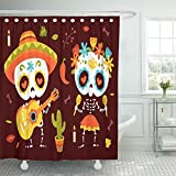 Emvency 72''x72'' Shower Curtain Waterproof Home Decor Skull Cartoon Style Day Of Dead Autumn Leaves Calavera Guitar Mexican Sugar Bones Picture Print Polyester Fabric Adjustable Hook