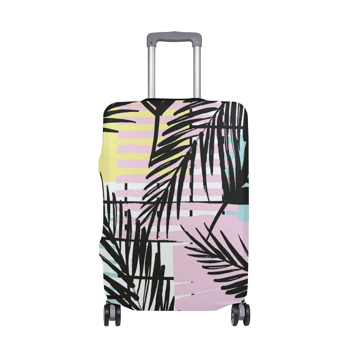 Summer Beach Palm Trees Tropical Striped Suitcase Luggage Cover Protector for Travel Kids Men Women