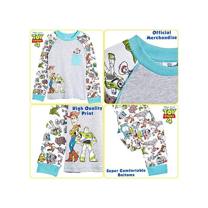 617MQYiHhwL ? ¡ PIJAMA EXCLUSIVO DE TOY STORY 4 DE DISNEY PIXAR!: Estos pijamas infantiles son imprescindibles para todos los fans de Toy Story 4. Las características de este adorable pijama son: Woody y Buzz Lightyear en la parte delantera, un pequeño bolsillo frontal con un bonito estampado de Forky en la parte superior, en todas las mangas y la parte inferior, puños elásticos en las mangas y el detalle del cuello. Camiseta de manga larga y pantalones largos. Ideal para dormir o para los domingos caseros ? ¡ CON TUS PERSONAJES FAVORITOS DE TOY STORY 4! : Disfrute de estos cómodos pijamas bebe y pijamas niño para dormir. ¡Con Woody, Buzz Lightyear, Betty Bo Peep, Jessie La Vaquera, Slinky, Rex, Forky, Hamm, Mr y Mrs Potato, Barbie, Duke Caboom, Alien, Ducky y Bunny, Gabby Gabby y Perdigón! Pijamas novedosos con licencia oficial adecuados para niños pequeños e infantes, será un conjunto de pijama que no querrán quitarse. 100% Algodón