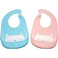 Set of 2 - Cute Silicone Baby Bibs Easily Wipe Clean - 100% Organic, Comfortable Soft Waterproof Bib Keeps Stains Off…
