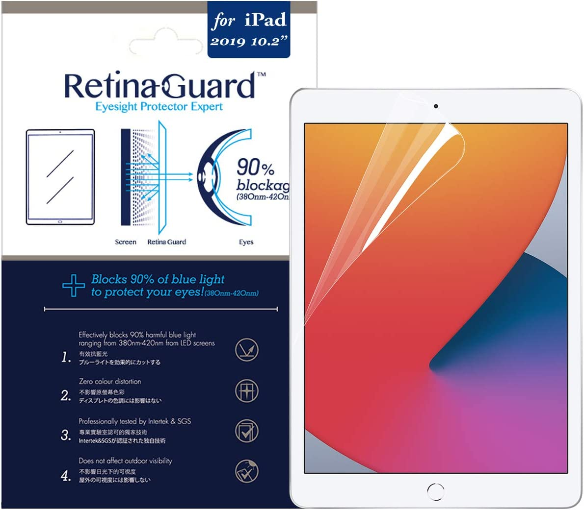 RetinaGuard 2019 iPad 10.2 Inch Anti Blue Light Screen Protector (Transparent), SGS and Intertek Tested, Blocks Excessive Harmful Blue Light, Reduce Eye Fatigue and Eye Strain