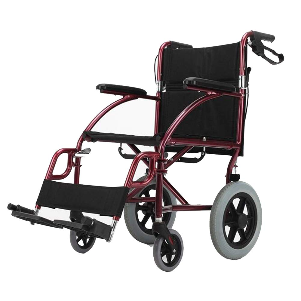 QIDI 車椅子 軽量 アルミニウム合金 輸送 アダルト 折りたたみ可能 ハンドブレーキ 赤   B07K53B4WG