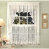 Lorraine Home Fashions Hopewell Lace Window Swags, 58-Inch by 38-Inch, White, Set of 2