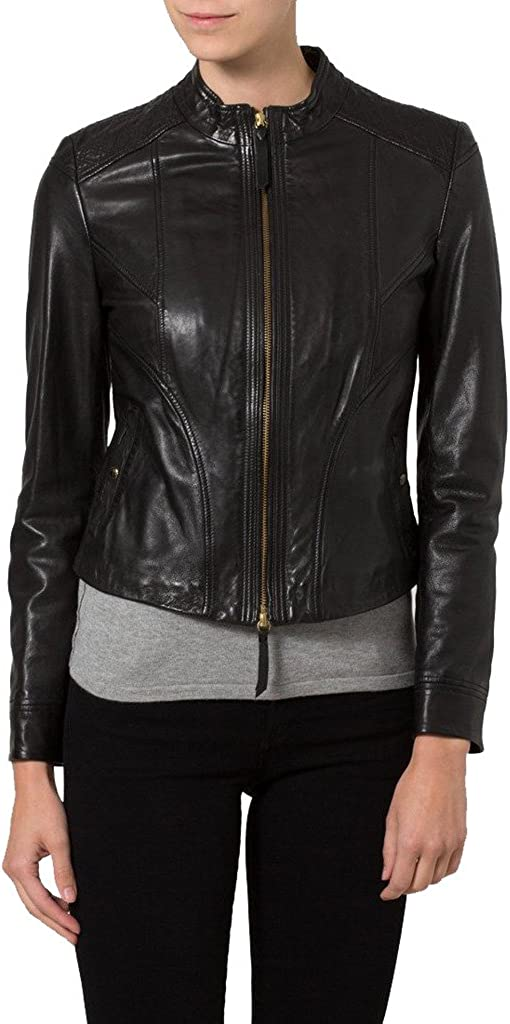 Womens Sheep Leather Motorcycle Slim Fit Outwear Jackets LFW083